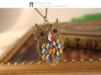 Wholesale Owl Retro Long Chain - PrettyBaby alloy with rhinestones owl necklaces retro owl necklaces Colorful rhinestone bronze charm Long Chain Jewelry Pendant Necklace