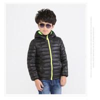 Wholesale Down Feathers Wholesale - Hooded Jackets 2016 Black Children's Outwear Boys Down Jacket 4pcs lot Solid Hooded Coat Kids Parkas Kids Cotton-padded jacket