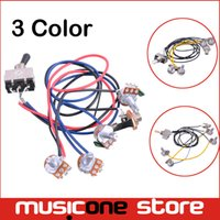 Wholesale Guitar Wire Harness - 2set lot 1 set Wiring Harness Prewired 2v2t 3 way Toggle Switch Jack 500k Pots for Gibson Replacement Guitar MU1045