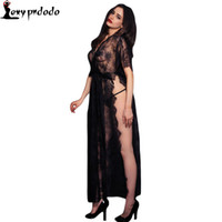 Wholesale Thong Night Dress - Wholesale- 2016 New Sexy Sleepwear Lingerie Gown Long Dress Black Sheer Lace Kaftan Robe with Thong Hollow Out Night Clubwear Midi Dress