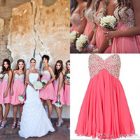 Wholesale Empire Waist Short Prom - New Arrival 2017 Short Bridesmaid Dresses Sweetheart Empire Waist Knee Length Beading Maid Of Honor Homecoming Prom Dresses EM02554