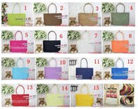 Wholesale Womens Summer Bags - Summer Shoulder Straw Bags Fashion Womens Straw Weave Woven Tote Shopping Bag Straw Beach Bags 16 Colors Free DHL BY0000