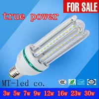 Wholesale Led Bulb Energy Saving E14 - Ultra Bright 3U 4U CFL ture Power 3W 5W 7W 9W 12W 16W 23W 30W LED lamp E27 E14 G24 110V Energy Saving LED Corn Bulb 85-265v led lights