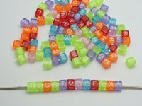 Wholesale Acrylic Plastic Pony Beads - 250 Assorted Colorful Transparent Acrylic Alphabet Letter 3D Cube Pony Beads 6X6mm