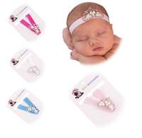 Wholesale Newborn Baptism Headband - Princess Tiara Headband Baby Baptism headband Baby birthday Gift Elastic Newborn Crown Headband Chic Baby hair accessory