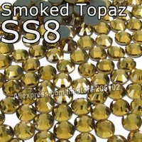 Wholesale Hot Fix Crystal Rhinestones Smoked - SS8 2.3-2.4mm,1440pcs Bag Smoked Topaz DMC HotFix FlatBack Rhinestones,heat transfer Hot Fix iron-on garment crystal stones