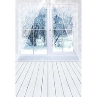 Wholesale Wood Floor Photography Backdrops - Outside Window Winter Snow Scenic Photography Backdrops Wood Floor Printed Lace Curtain Wedding Children Photo Studio Portrait Backgrounds
