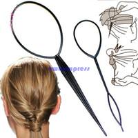 Wholesale Wholesale Topsy Tail - 2PCS Plastic Magic Topsy Tail Clip Headwear Hair Tools Styling Casual Pony Fashion Salon Accessory Twist Braid Ponytail Maker