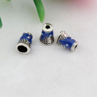 Wholesale Bali Style Jewelry - Hot ! 200pcs Zinc alloy antique silver blue Enamel Bali Style End Caps Cones 5.8mm * 8mm DIY Jewelry