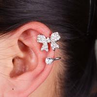 Wholesale Bow Earring Cuff - Dazzling fashion wild ladies wind full of diamond bow no U-ear pierced earrings clip LM-C339