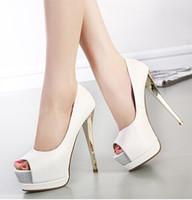 Wholesale Size Black Sexy Shoes - Elegant wedding bridal shoes pumps 15CM sexy high heels peep toe white shoes 2015 size 34 to 39