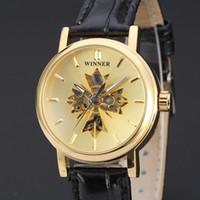 Wholesale Watch Skeleton Woman Wrist - 2017 winner fashion female leather elegant business skeleton mechanical self wind military wrist women watch gift clock
