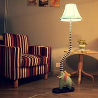 Wholesale Living Room Floor Lamps - Creative cute elephant type floor lamp, cartoon lamp bedroom living room children's room rustic fabric lamp, reading lamp nightlights