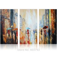 Wholesale Paris Art Canvas - 3Pcs Lot Modern Paris Streetscape in Rain 100% Hand Painted Oil Paintings No Framed Wall Art Home Decor Bright Brown 12x24 Inch