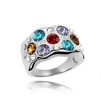 Wholesale Swarovski Stone For Jewelry - Austrian Crystal Jewelry Fashion Rings For Women made with Swarovski Elements White Gold Plated Wedding Rings 4658