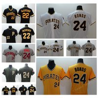 ff28fe65 Men pirates baseball jerseys #24 Barry Bonds #22 Andrew McCutchen Green  yellow white and Black Baseball Jersey ...