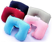 Wholesale 200pcs U Shaped Inflatable Travel Cushion Neck Pillow Portable Folding Travel Air Pillow Inflatable U Shape