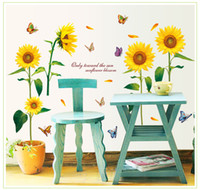 Wholesale Cartoon Sunflower Wall Decal - Romantic Sunflower Wall Sticker with Colorful Butterfly DIY Remove Home Decor Flower for Household Bedroom TV Background 125*105cm