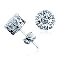 Wholesale 925 crown earrings wholesale - Fashion Bridal Crown Wedding Stud Earring 2017 New 925 Sterling Silver CZ Simulated Diamonds Engagement Beautiful Jewelry Crystal Ear Rings