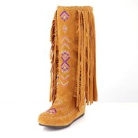 Moda Chinês Nation Style Flock Couro Women Fringe Flat Heels Botas longas Woman Tassel Knee High Boots Tamanho 34-43