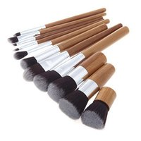 Wholesale Eyeshadow Brush Bamboo - 11PCS Makeup Brushes Sets Kits Bamboo Handle Brushes Foundation Eyeshadow Blush Brushes Set Kit with gunny bag 2805014