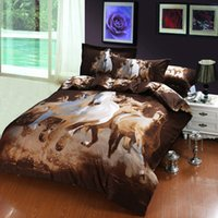 Wholesale 3d Oil Painting Bedding 4pcs - Hot Cotton Horse 3D Bedding Oil Painting 4pcs Printed Duvet Cover Bedding Sets Three Dimensional Pattern Home Textiles