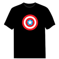 Wholesale El Flashing Shirts - Cool Sound Activated LED T-Shirt Captain America The Avengers Light Up EL Flashing Multi Design Best For Company Advertisement Show Party