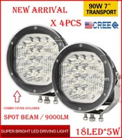"""Wholesale 4x4 Cover - DHL 4PCS 7"""" 90W 18LED*5W CREE LED Driving Work Light Round Offroad SUV ATV 4WD 4x4 Transport Spot Beam 10-60V 9000lm Combo Protection Cover"""