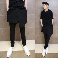 Wholesale Dance Pants Skirts - Wholesale-Hip Hop Fashion Dance Pants For Men Black Drop Crotch Skirt Skinny Harem Pants Trousers