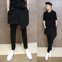 Wholesale Skirted Dance Pants - Wholesale-Hip Hop Fashion Dance Pants For Men Black Drop Crotch Skirt Skinny Harem Pants Trousers