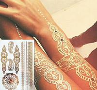 Wholesale Metalic Fashion - Wholesale-Fashion body art flash metallic temporary tattoos gold tatoos metalic tatoo flash tattoo Body Paint Stickers