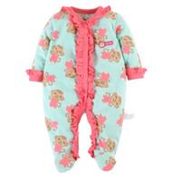 Wholesale girls pajamas velvet - 2016 Brand New Baby Girls Rompers Fleece Body Warmer Coral velvet Pink Monkey Pajamas Sleepwear Comfortable Outfit Free Shipping