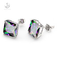 Wholesale Silver Earring Rainbow - Trendy Rainbow Mystic Topaz stone Fashion Silver Plated Earrings E720 Recommend Promotion Favourite Best Sellers Time limited discount