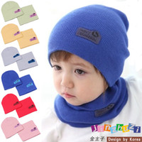 Wholesale Candy Colors Baby Scarf - Children's Caps 6 Colors Spring Children Hedging Cap + Scarf Suit Leather Standard Solid Color Candy-Colored Wool Hats Newsboy Caps Baby Hat