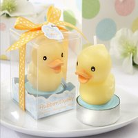 Wholesale Ducky Baby Shower Favors - 2016 new 4.3*5*6.3cm Cute Rubber Ducky Candle Baby Shower Favors Wedding Birthday Gifts free shipping