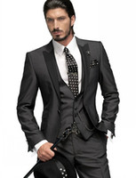 Wholesale Grey Men Slim Fit Suits - Slim Fit One Button Groom Tuxedos Charcoal Grey Best Man Peak Black Lapel Groomsmen Men Wedding Suits Bridegroom (Jacket+Pants+Tie+Vest)H751