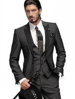 costume gris anthracite achat en gros de-Tuxedos Groom Slim Fit One Button Gris Charcoal Meilleur Homme Peak Black Revel Groomsmen Hommes Costumes De Mariage (Veste + Pantalon + Cravate + Gilet) H751