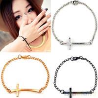 Wholesale Simple Cross Bracelet - Wholesale-Fashion Korean Women Metal Cross Simple Charm Bracelet 3 colors Silver Gold Black bracelets & bangles 02DE 4N7R 7IG4