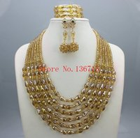 Splendid Nigerian Wedding Beads Jewellry Set Choker Necklace Set Mulheres africanas Bridal Jewelry Set Gold Plated Free Ship SD601-2