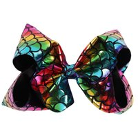 Wholesale Kids Animal Clips - Baby 8 Inch Big Mermaid hair Ombre Hair Bow On Clip Scale Hair Clip For Kid Girl