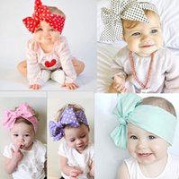 Wholesale solid color head bandanas resale online - Lovely bowknot Headband chevron striped baby Hair Head Band Cotton Bow Knot Headband pure color infant rabbit babies hair accessories