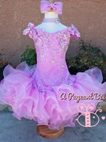 Wholesale Toddlers Ball Dresses For Cheap - Lovely pink cupcake glitz crystal pageant dresses for toddlers off shoulder floral sequins beads ball gown ruffles cheap pageant gowns