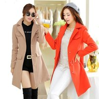 Wholesale Light Pink Wool Coat - 2015 New hot sale Autumn and Winter Coat Wool Single-Breasted Outerwear Pink Wool Coat Women Medium-Long Wool Coat and Jacket Light tan
