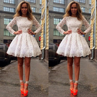Wholesale Long Sleeved Homecoming Dresses - 2016 Spring Party Dresses Cheap High Quality Homecoming Gowns A Line Short Lace Illusion Long Sleeved Cocktail Formal Wear