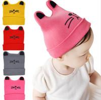 Wholesale Crochet Cat Ears - cute cat boy&girl cap Cartoon Cat Ear Toddler Hats Winter Milk Baby Caps Warm Knitted Newborn Hats Infant Beanies Skullies