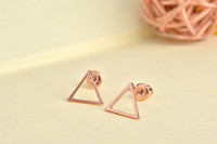 Wholesale Triangle Shaped Jewelry - Free shipping 10pcs lot Gold Silver Rose gold polished hollow triangle shape earring jewelry ED062