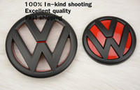 Wholesale Vw Hood Badge - 2PC* VW Matte Black Bonnet Boot Badge for VW new sagitar Auto Hood Trunk Emblem VW 130mm 110mm Rear Front BADGE