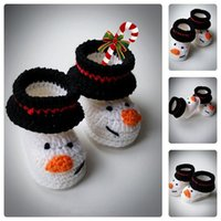 Wholesale Cute White Booties - 2015 Handmade Cute Snowman Baby Booties Newborn and white Infant Booties Boots for babies Baby shower gift 0-12M cotton yarn custom
