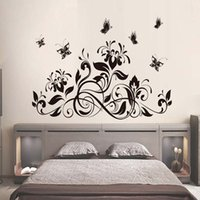 Black Cane Adornment Butterfly On The Wall Sala de estar Quarto TV Setting Wall Sticker Home Decor Living Room Stick On The Wall