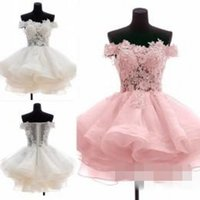 Wholesale Maternity Wedding Guest Dresses - 2015 Short Party Dresses Off The Shoulder Homecoming Dresses A Line Sheer Wedding Guest Dresses Short Prom Dresses with Beaded Appliques